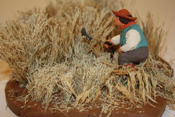 Tutoriel: décoration de crèche, comment faire un petit champ de blé - Santons et crèches de Provence