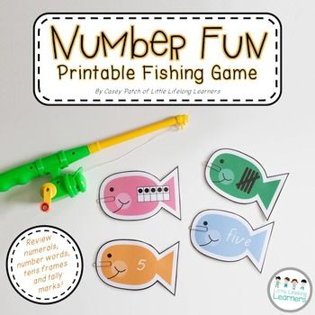 Number Fun - Fishing Game for Numeral Recognition and Representation. Use this numeracy game to reinforce the different ways numbers 0 to 10 can be represented (numeral, word, tally marks and ten frames). By Little Lifelong Learners