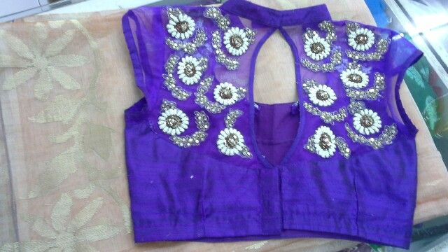 Net blouse with pearls work 9866583602
