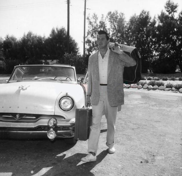 Rock Hudson arriving at the Racquet Club in Palm Springs for some fun in the sun in the late 50's