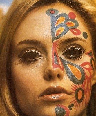 60's:   - dramatic eyes = heavy eyeliner (sometimes winged)/ false eyelashes  - pale lips
