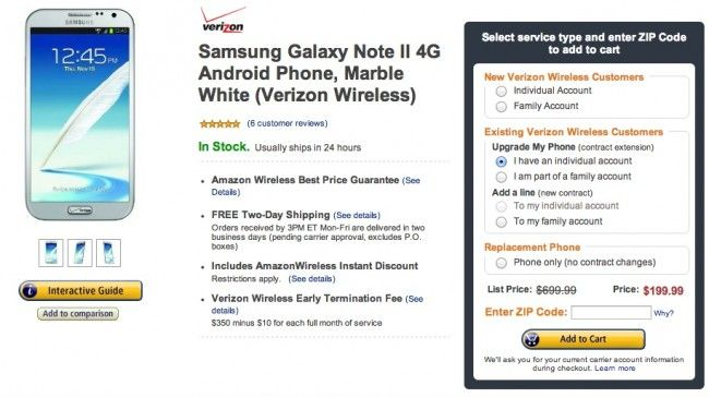 Amazon Drops Verizon Galaxy Note 2 Price To 199 For Upgrades And