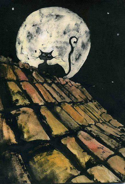 Gato preto no telhado em noite de lua cheia. By Leticia Zamora.
