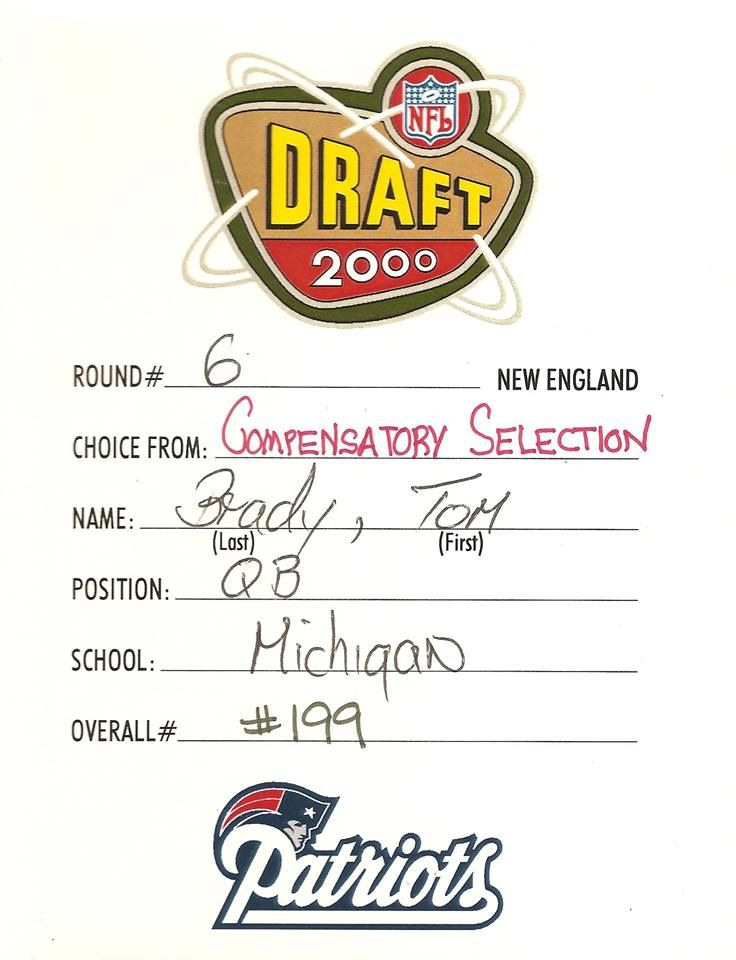 New England Patriots   Happy 14th anniversary to the greatest draft card in Patriots history.
