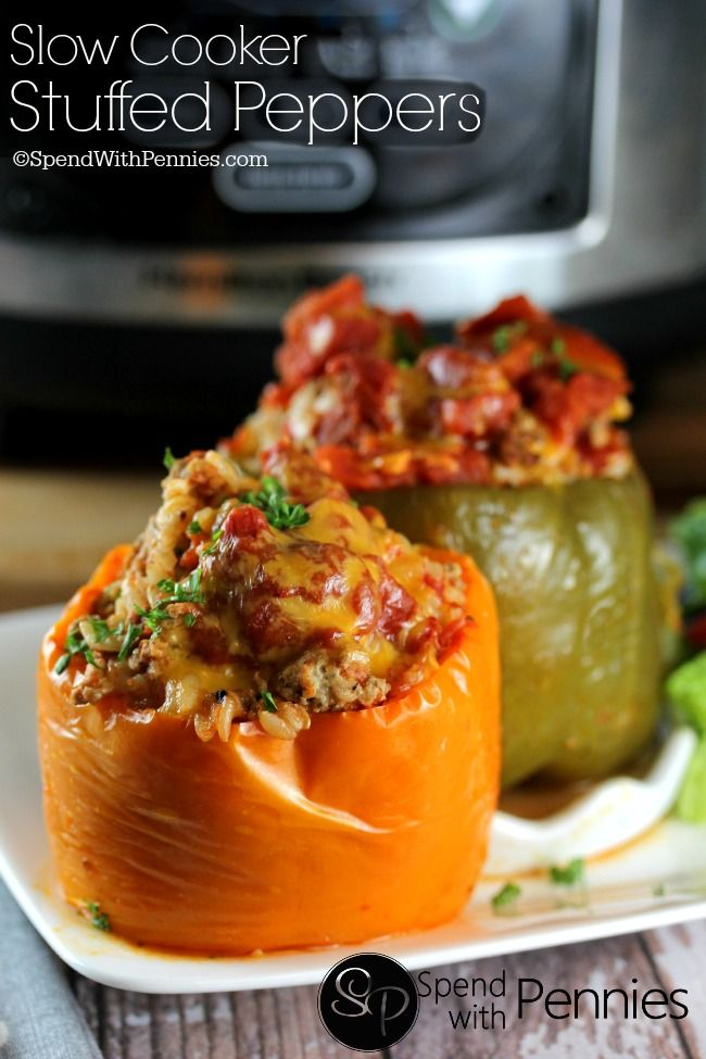 Slow Cooker Stuffed Peppers Pin it for later! Follow Spend With Pennies on Pinterest for more great tips, ideas and recipes! I love using my slow cooker, especially in the fall and winter months.  I mean, what's better than coming home to dinner waiting for you?  I sometimes get tired of the same ol' …
