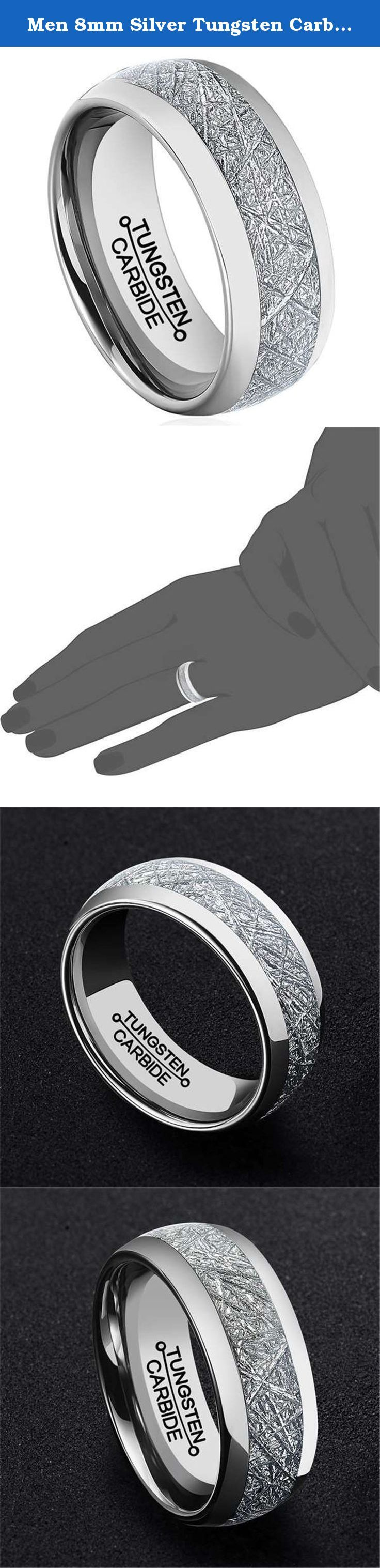 Men 8mm Silver Tungsten Carbide Ring Vintage Meteorites Pattern Wedding Engagement Band Domed Comfort Fit Size 9.5. As a heavy metal, tungsten carbide is a very hard and dense with hardness between 8.5 and 9.5 on the hardness scale (Diamonds come to a 10). Its density allows tungsten to be used in jewelry as an alternative to gold or platinum. Tungsten carbide is about 10 times harder than 18k Gold, 4 times harder than titanium stainless steel, and it never fade, deform and always keep...