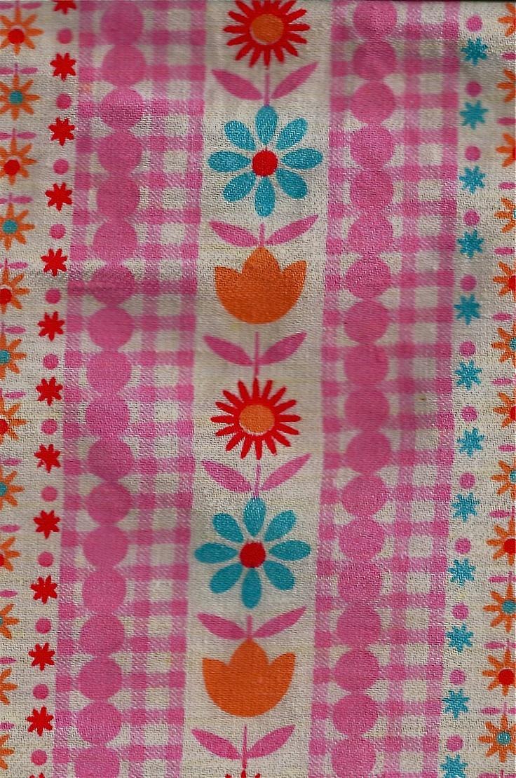 Love flower power daisy graffiti print cotton fabric 60s 70s retro - Folk Art Fabric Orange Floral Fabric Pretty Flower Fabric Pink Folky Fabric Keep Y