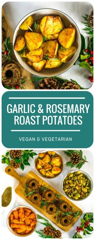 A simple, prep-ahead method for the most deliciously crispy Garlic & Rosemary Roast Potatoes, the most vital dish in the perfect Vegan & Vegetarian Christmas Dinner!