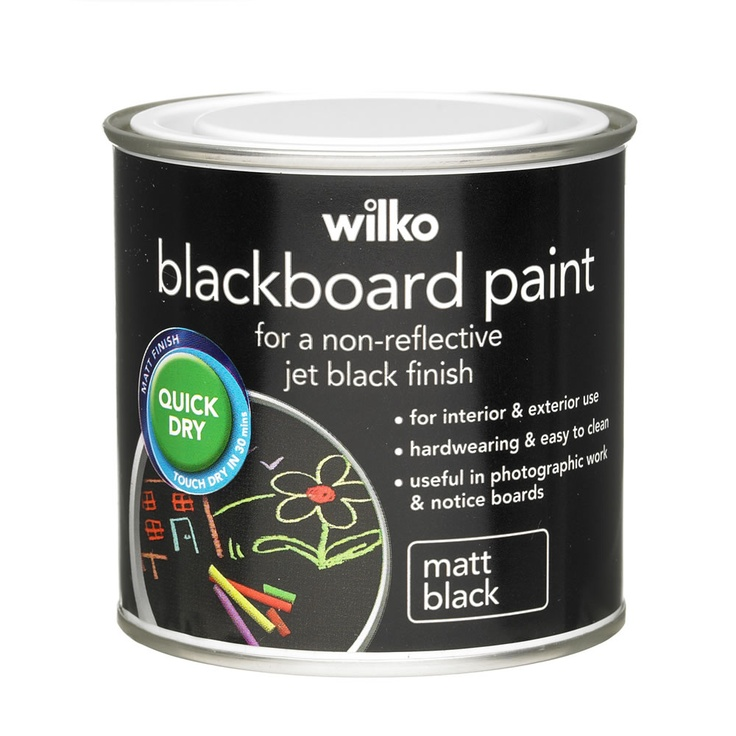 wilko matt quick dry blackboard paint black 250ml for. Black Bedroom Furniture Sets. Home Design Ideas