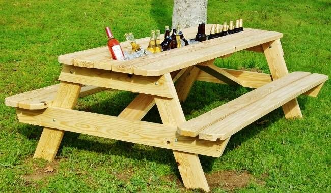 Beer Gutter Picnic Table Cool Pinterest