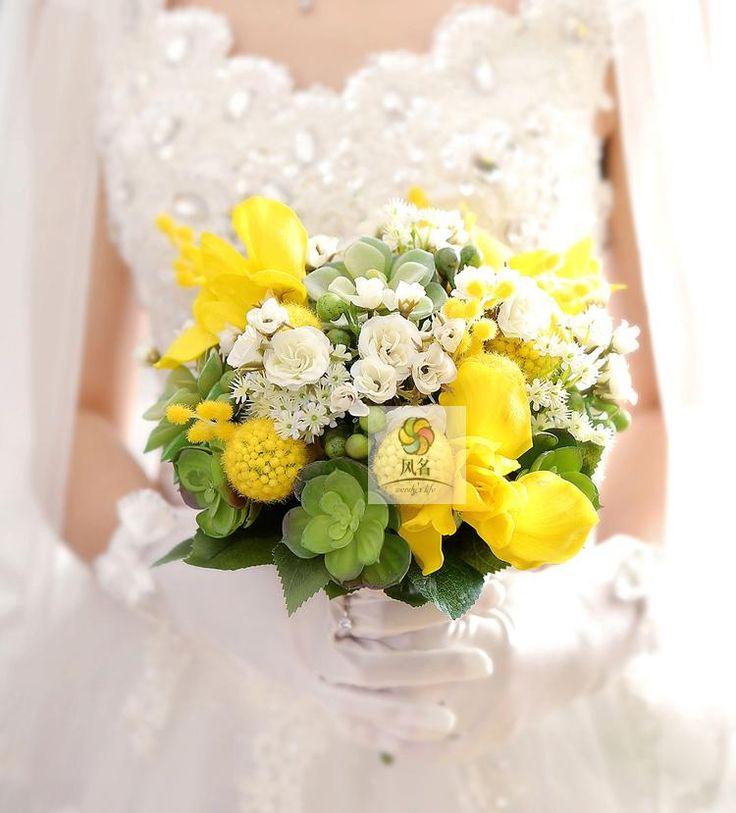 Дешевое Искусственные цветочные пользовательские белый ирис желтый суккуленты свадебные букет пользовательские горячая распродажа, Купить Качество Свадебные букеты непосредственно из китайских фирмах-поставщиках: