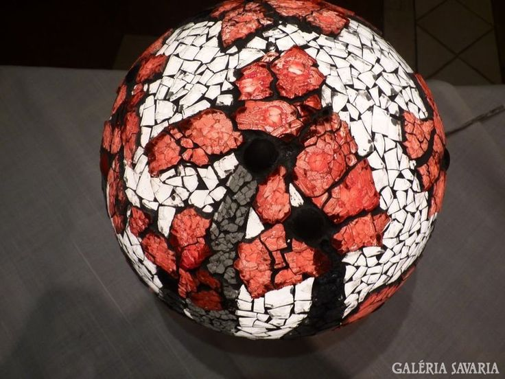 Lámpa üvegmozaik borítással - Glass mosaic art lamp, signed