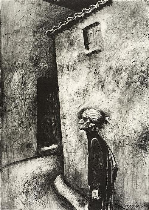 Noel Jack Counihan – Old woman, 1981, lithograph