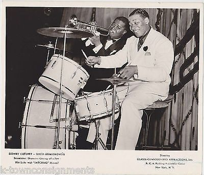 LOUIS ARMSTRONG & SID CATLETT JAZZ BIG BAND MUSICIANS VINTAGE RCA PROMO PHOTO