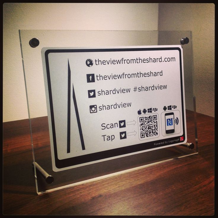 A very exclusive new design for The View at The Shard featuring links to their online presence and the all important hashtag #shardview #Logotag #NFC #QR