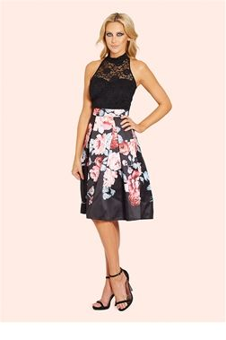Sistaglam Fabia Lace Halterneck 2 in 1 Printed Prom Dress  £75.00 This elegant prom dress features a lace halterneck bodice with black lining and a floral border print sateen skirt. Complete the look with a romantic rosy lip and flowing curls.   Colour: Multicoloured