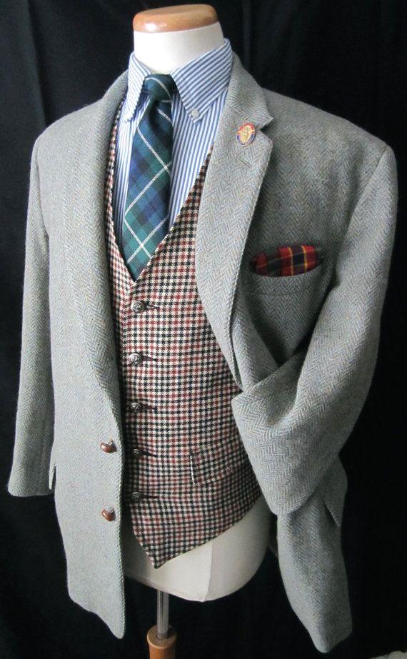 Giacca di HARRIS TWEED lana Blazer 44 S VTG di SparrowsAndWolves