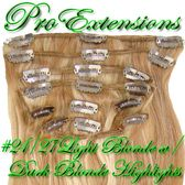 "This Pro Extensions clip in hair extension set is Colored #24/27 Medium Blonde w/ Dark Blonde Highlights. Pro Extensions are 100% human hair extensions. This set of hair extensions is 20″"" long and 39″"" wide. This hair extensions set is Grade A+ Remi, Color #24/27 Medium Blonde w/ Dark Blonde Highlights. Remi hair extensions is considered the world's finest grade of human hair extensions. Also, Remi hair is painstakingly ensured that every piece of hair within the set is directionally the same from root to tip. The set weight is 100 grams. This set of extensions is our body wave and have a natural wave within the set. Pro Extensions can add length, volume or texture to your current hair style. The extensions can be styled effortlessly as easy as your own human hair and will blend seamlessly into your own hair style. The individual weft breakdown within the set is: one (1) 8 inch wide weft with 3 clips, one (1) 7 inch wide weft with 3 clips each, two (2) 6 inch wide wefts with 3 clips each, and six (6) 1 and 1/2 inch wide wefts with 1 clip each, and two (2) 1 and 1/2 inch wide wefts (no clips) for testing/coloring. Each weft has ample clips to ensure a snug hold. Our clips have a polymer coating to ensure no damage to your hair or discomfort to your scalp. Pro-Extensions is the leading provider of premium clip-in human hair extensions in the United States. At last, women can have the hair styles of super stars and super models without spending endless hours of time at high priced hair specialists. Whether you need to add fullness to fine hair, add length to short hair, or to simply add highlights without using chemicals, Pro Extensions is your solution. Brybelly.com is the exclusive drop shipper of this product."