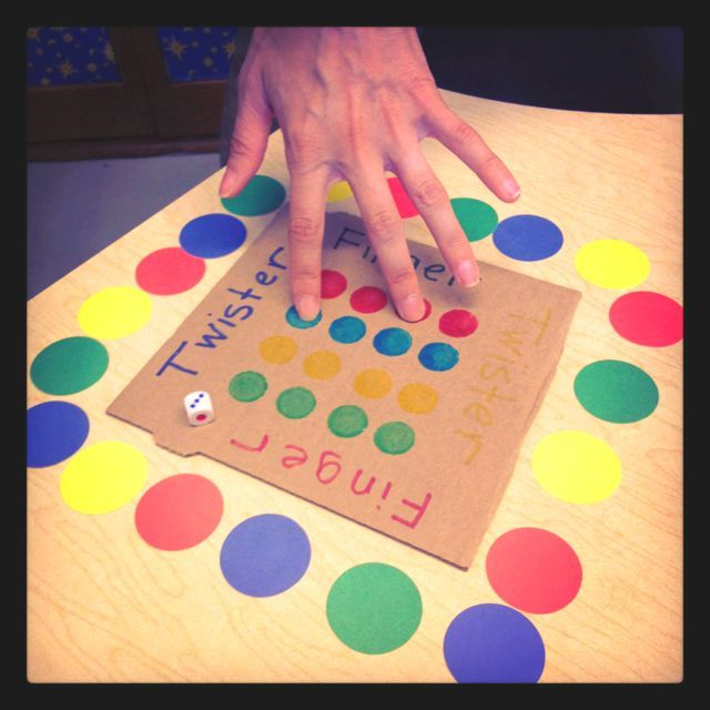 Occupational therapy, finger twister. Great for fine motor dexterity! Would be cute for a class party.