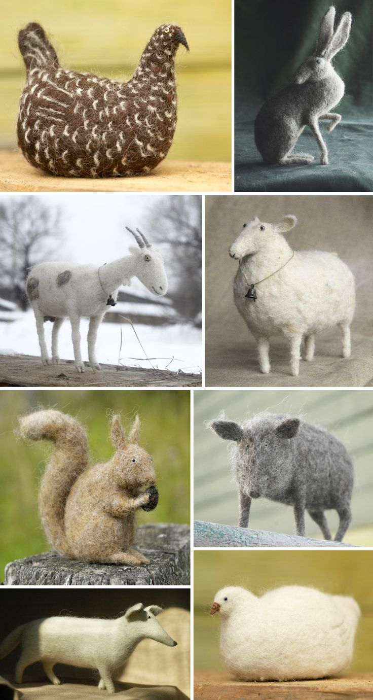 Victor Dubrovsky's needle felted animals.