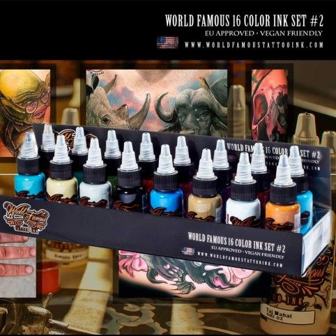World Famous Ink - No. 2 Colour Ink set x 16   #tattoo #tattooink #tattoosupply #tattoosuppliers #shoponline #worldfamousink #wheretobuy #wheretostart #best #quality #ink #getink #getinked #veganfriendly #vegan #tattooaddict