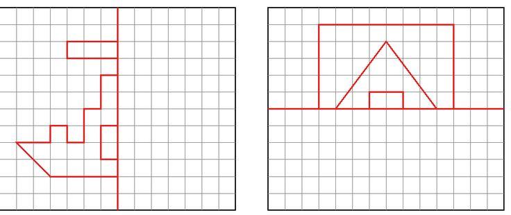 Maestra de Primaria: Realizar dibujos simétricos respecto a un eje de simetría en cuadrícula. Traslación de figuras básicas.
