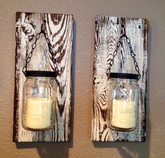Large mason jar barn wood candle holder on Etsy, $45.00