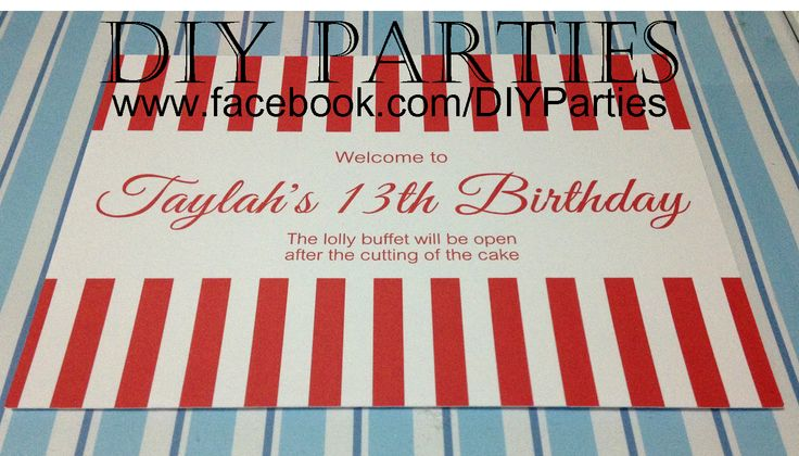Table sign - Red & White stripe. Find us on Facebook: www.facebook.com/DIYParties