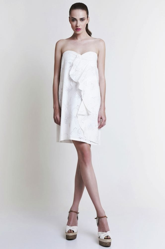 Mini Strapless Dress in Beige