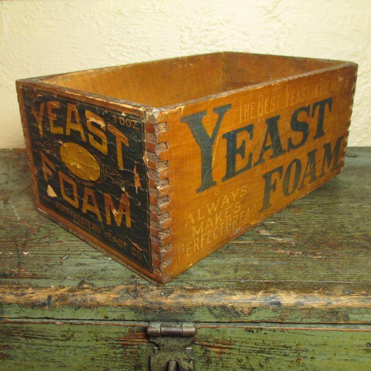 Wonderful Early Old Advertising Box - YEAST FOAM - Northwestern Yeast Co. Chicago IL #HannahsHouseAntiques #RubyLane https://www.rubylane.com/item/497177-9538/Early-Advertising-Box78-YEAST-FOAM-Northwestern?search=1