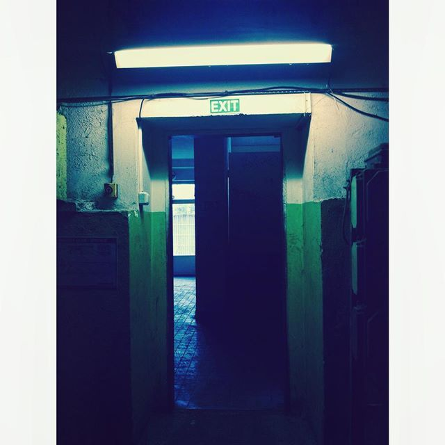 EXit #neon #door #empty #dark  #room #depot #hall #decay #prague #escape #exit #sortie #location #cold #light