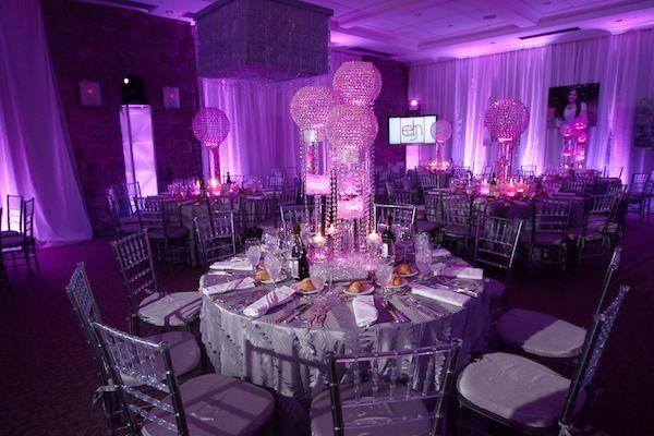 Nighclub / Lounge Bat Mitzvah & Party Theme - Radiant Orchid Bat Mitzvah Centerpieces, Pink, Purple, Bling {SBZ Events} - www.mazelmoments.com/blog/19023/lounge-club-nightclub-theme-ideas-bar-bat-mitzvah-party-sweet-16/