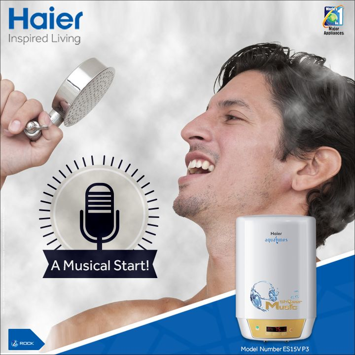#Haier's Musical #Water Heater kick starts your morning on a musical note.  Know more here: bit.ly/1QFFmwc