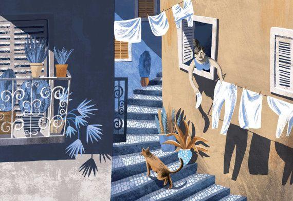 Lisbon // A4 art print by essillustration on Etsy