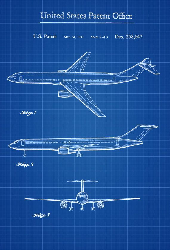 Boeing Airplane Patent Airplane Blueprint by PatentsAsPrints