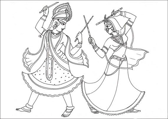 Navratri Coloring Pages Craft Ideas Pinterest