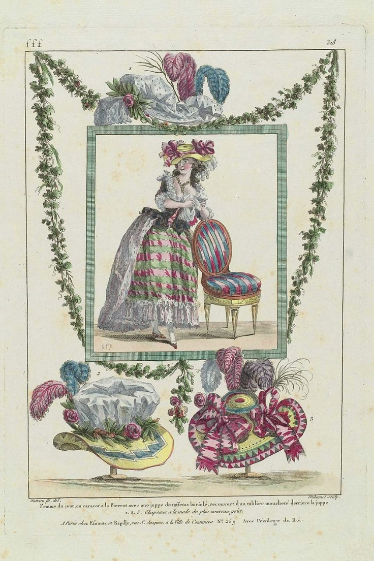 1786 Femme du jour, en caracot a la Pierrot avec une juppe de taffetas bariolé, recouvert d'un tablier moucheté derriere la juppe. 1, 2, 3, Chapeaux a la mode du plus nouveau goût.