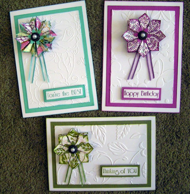 3 Tea-Bag flowers I made using Kaszazz new released papers & embossing folders.