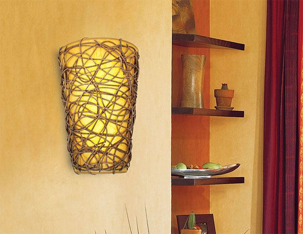 Battery Operated Wall Sconces Pinterest : Battery Powered Wicker Wall Sconce with White Light or Amber Flicker Projects to Try ...