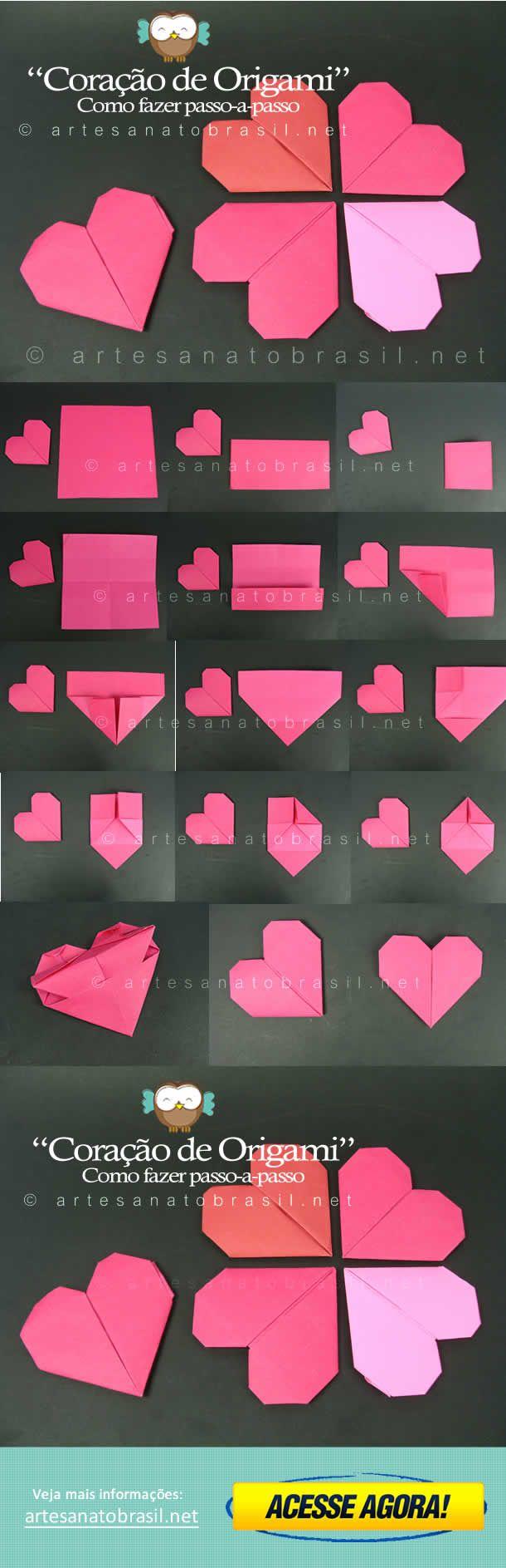 Marcador de página - Coração Origami - Acesse!