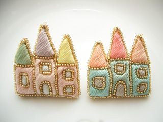 Castle brooches by Chez Aya.