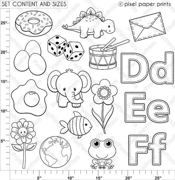 Alphabet Digital Stamps Part 2 DEF clip art School