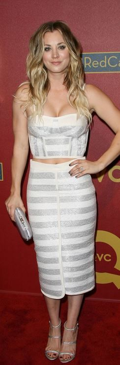 Who made Kaley Cuoco's clutch handbag, silver sandals, and stripe cut out dress that she wore in Beverly Hills on February 28, 2014?