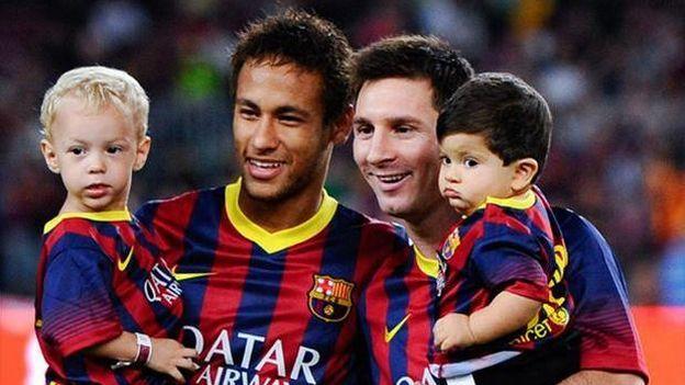 Hijo de #LionelMessi no le dio la mano al de #Neymar. #depor