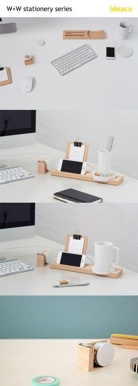 ideaco stationery. mug tray, penholder tray, tape cutter,