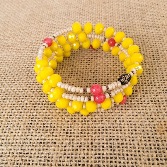 Need a punch of stylish color for the season? This beautiful rosary bracelet…