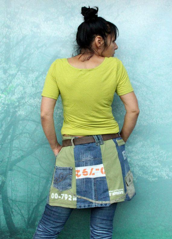 L-XL Crazy denim and tshirt recycled skirt hips by jamfashion