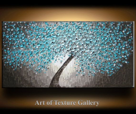 48 x 24 Large Oil Impasto Painting Original Texture Modern Aqua Teal Beige Brown White Tree Floral Texture Knife Painting by Je Hlobik