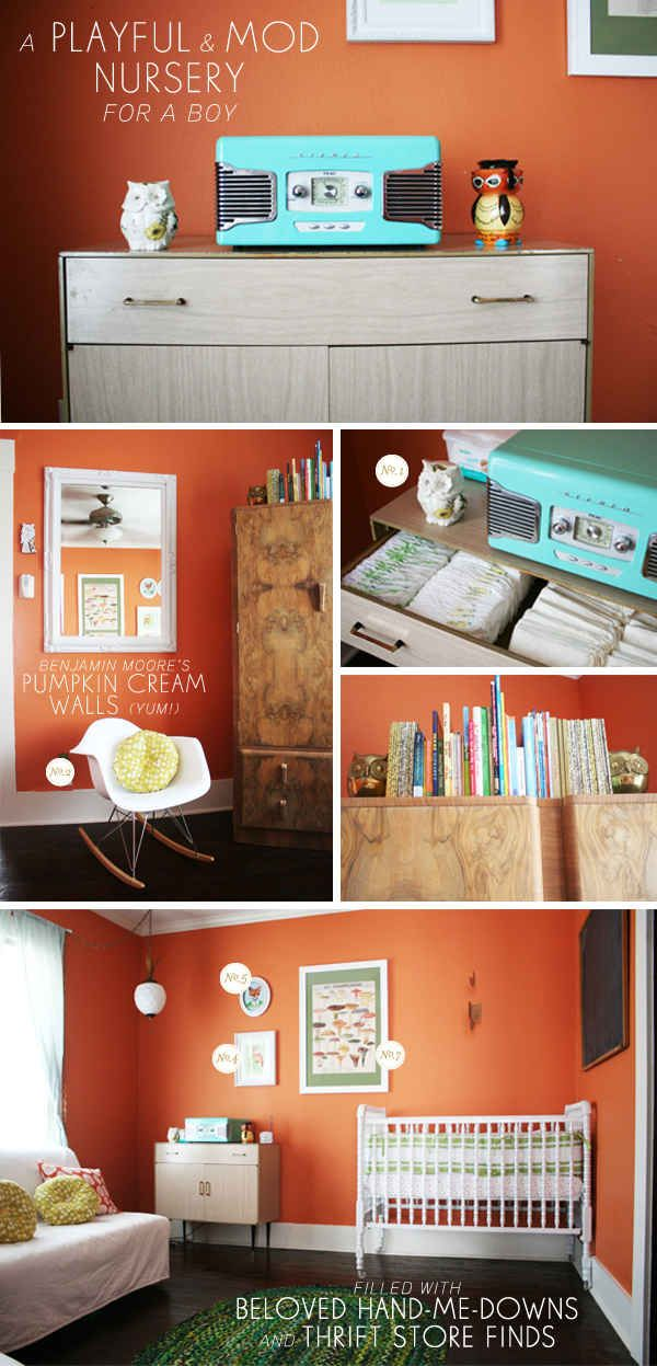 orange and aqua baby nursery