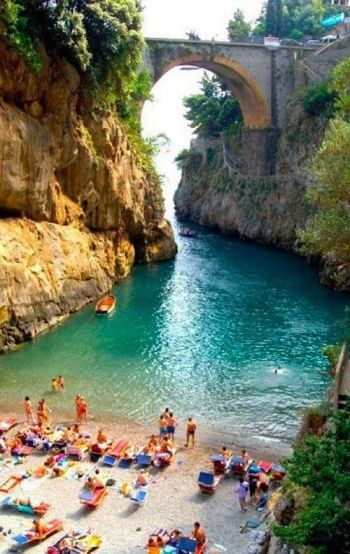 One of the most hidden beaches in Italy ~ Furore Beach on the Amalfi Coast. For the best of art, food, culture, travel, head to theculturetrip.com